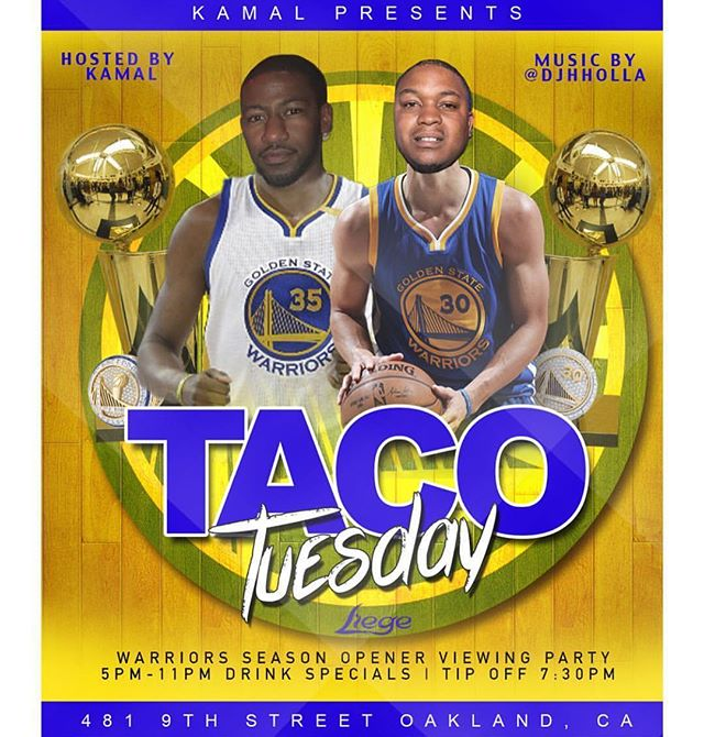 🌮🏀🌮 — WARRIORS WATCH PARTY — 🌮: TACO TUESDAY @liegeoakland — 🏀: @warriors vs. @okcthunder SEASON OPENER WATCH PARTY — 🕔: AFTER WORK 5-11p — ⛹🏾‍♂️: TIP-OFF 7:30p — 🍸: DRINK SPECIALS ALL NIGHT — 🎤: @yourfavoriteigpage hosting! — 💻🔊: @djhholla and @iamdjlevel playing! — ♎️: LIBRAS CELEBRATING! — #NBATipoff #warriors #thunder #afterwork #tacotuesday #tacotuesday