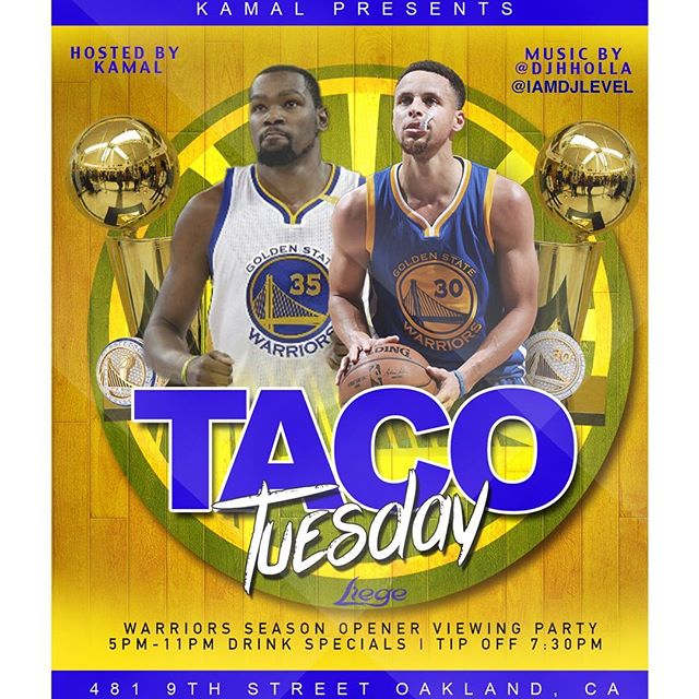 🗣 TODAY AFTERWORK WE IN OAKLAND — 🌮: TACO TUESDAY @liegeoakland — 🏀: @warriors vs. @okcthunder SEASON OPENER WATCH PARTY — 🕔: AFTER WORK 5-11p — ⛹🏾‍♂️: TIP-OFF 7:30p — 🍸: DRINK SPECIALS ALL NIGHT — ♎️: LIBRAS CELEBRATING! — 🎤: @yourfavoriteigpage hosting! — 💻🔊: @djhholla and @iamdjlevel playing at breaks and halftime! — #libraseason♎️ #NBATipoff #warriors #thunder #afterwork #tacotuesday #tacotuesday