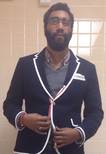 Me not looking nearly as cool in a random bathroom 4 or 5 years ago rocking the Thom Browne x Target blazer