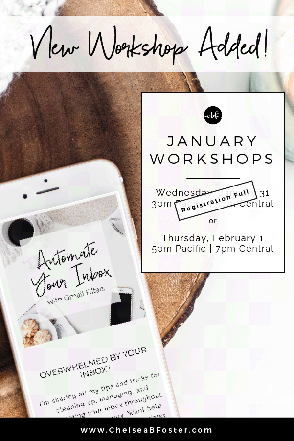 Workshop Added in January || ChelseaBFoster.com - Workflow & Productivity Education & Coaching