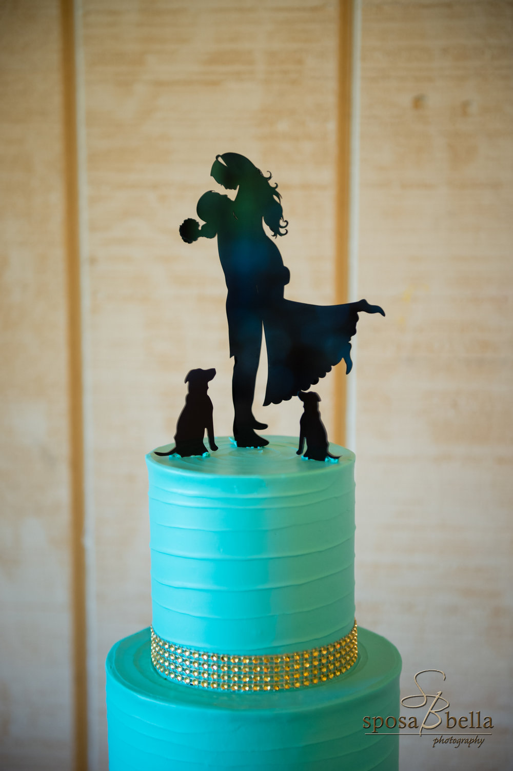 A customized cake topper is a great way to incorporate your furbaby into th day when they are not able to be there personally.