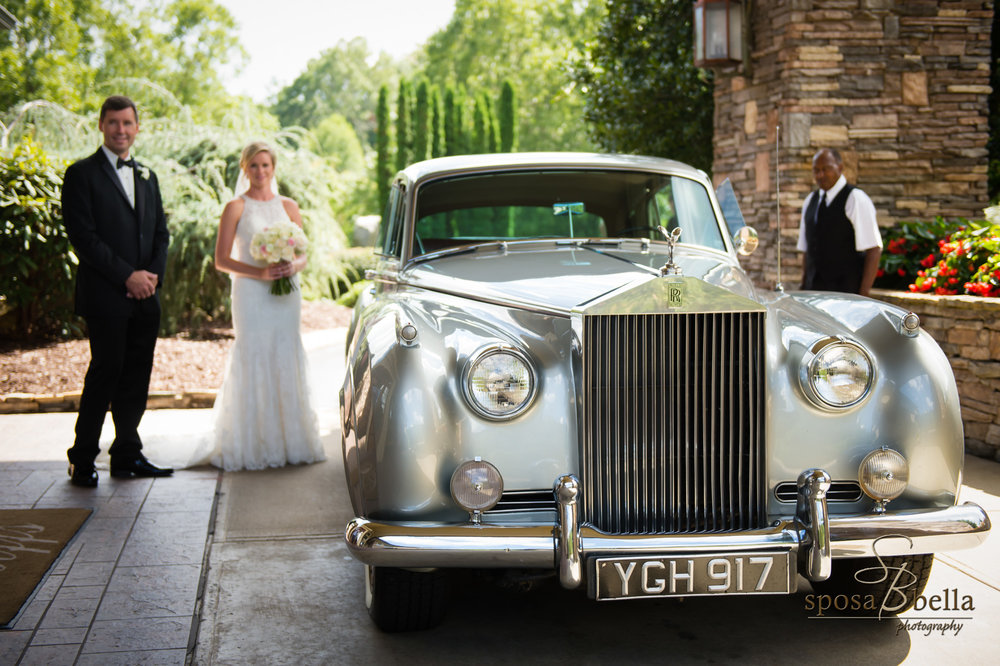 A classic Rolls Royce took Courtney to the chapel before the ceremony. After saying their vows, it brought her & Chris down to the reception.