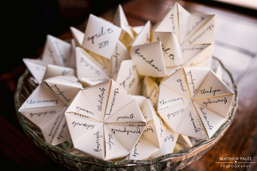 Do you remember the origami paper fortune tellers from way back when? Whitney and Brandon transformed this childhood game into beautiful wedding programs.