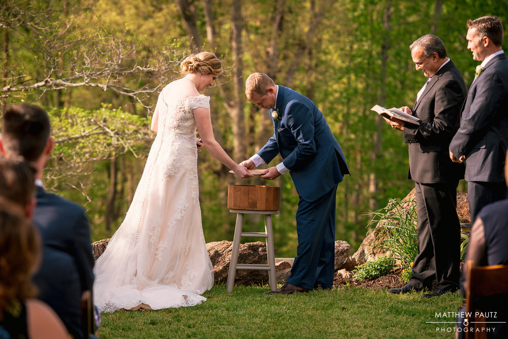 Whitney & Brandon decided to seal a bourbon barrel during their ceremony. Each placed a letter inside the barrel. In a certain amount of time, they are to open the box, cheers to the memories made & read the letters.