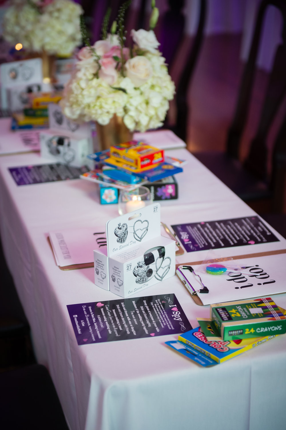 What better way then to keep the kids entertained then their own special table with activites galore!