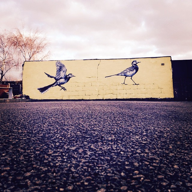 Two pied wagtails by @atmstreetart with help from @woodstreetwalls #streetart #streetarttour #e17 #walthamstow #london #art