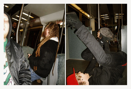 (Bowie and Little John singing/Aspen pole-dancing on the subway train.)