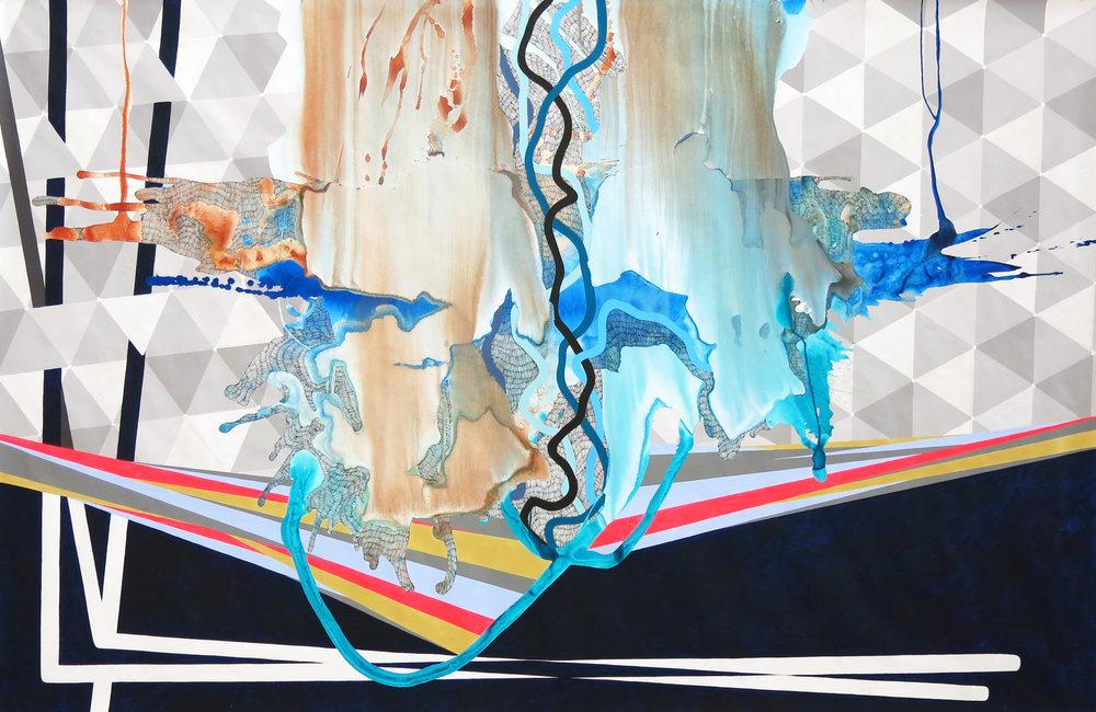 Ice Melt. Highflow Acrylic and gouache on tyvek. 58in x 104in. 2018