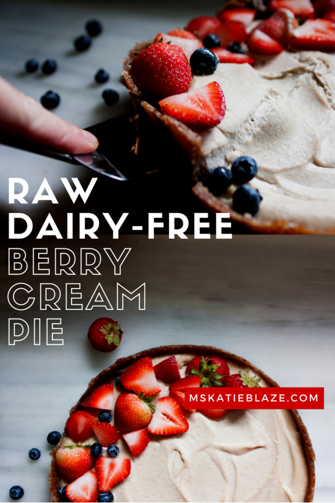 raw dairy free berry cream pie