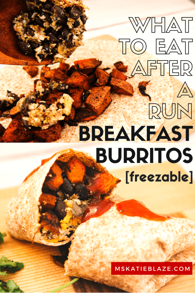 This breakfast burrito recipe is freezable, and takes the stress away of having to prepare something! They are great to eat after a run, especially a morning run!