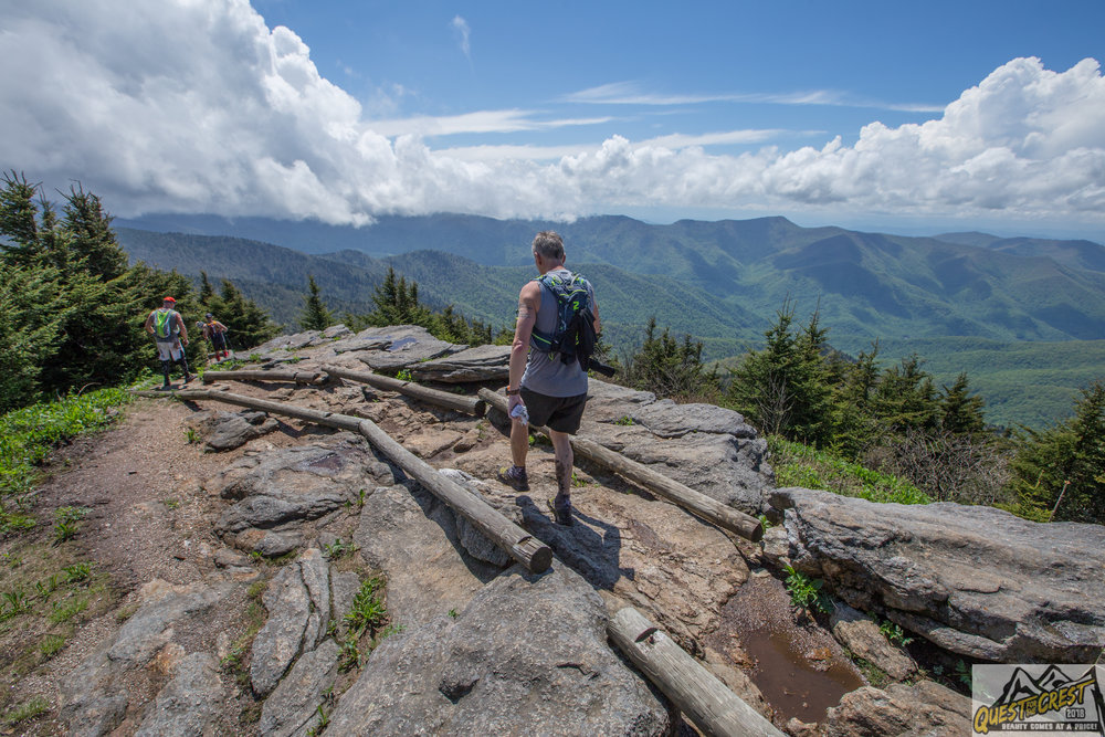 other runners headed to Mt. Mitchell after summiting Big Tom.