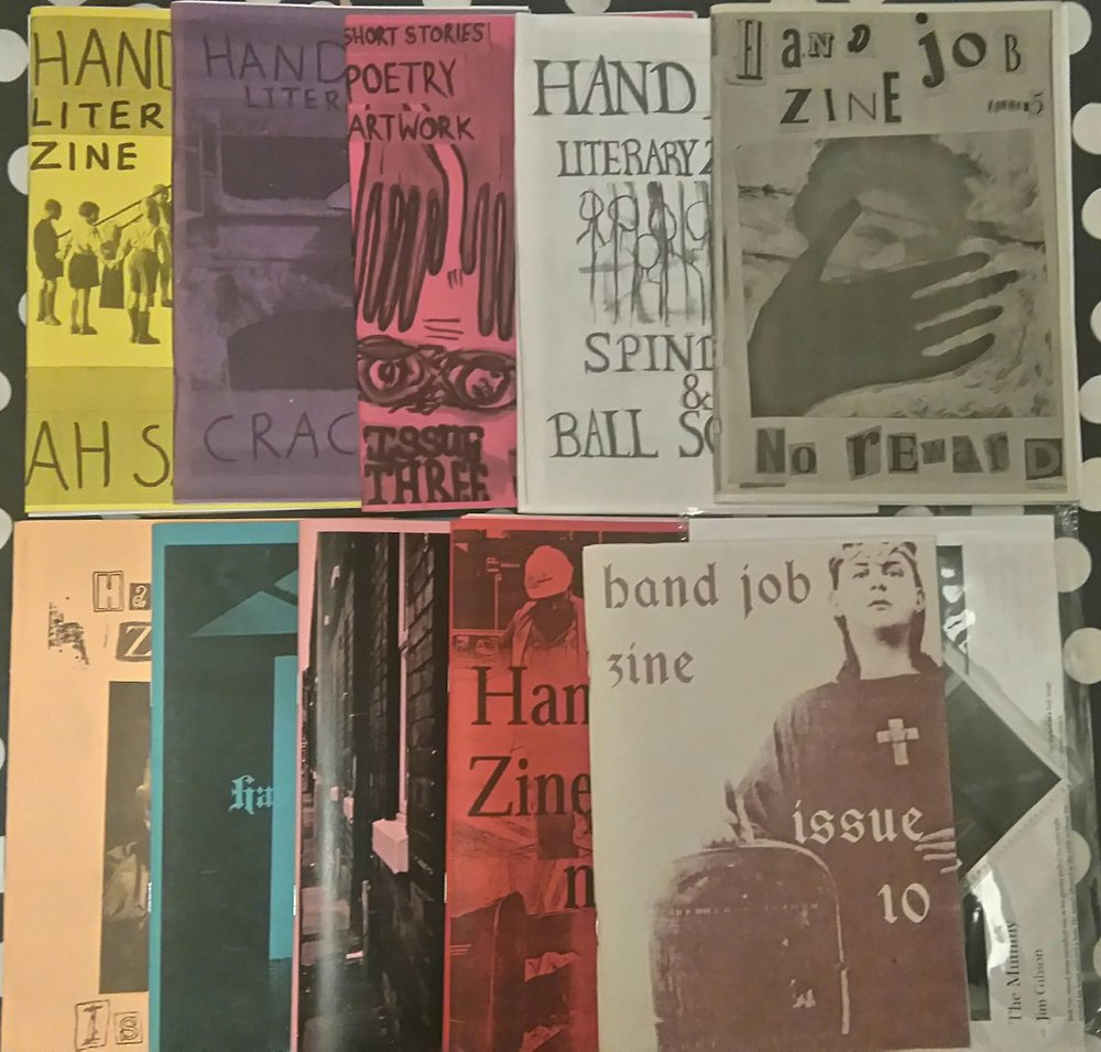 Adele Morris' haul of all 10 issues of Hand Job zine showing how it progressed over time. Each issue got that bit thicker and more professional while still harboring the anti-mainstream ethos.