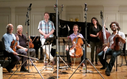 Fine Arts Quartet with Alon Goldstein and Rachel Calin, recording Mozart Piano Concertos (arr Lachner).