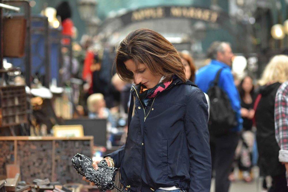 Zara jacket, Zara printed pocket square, Zara bandana print umbrella, True Religion jeans, Ralph Lauren polo sweater, Covent Garden, London, UK. Image©thingstodot.com