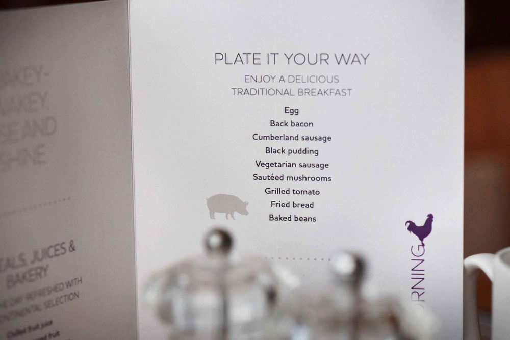 Breakfast menu, Mercure hotel, Inverness, Scotland. Image©thingstodot.com