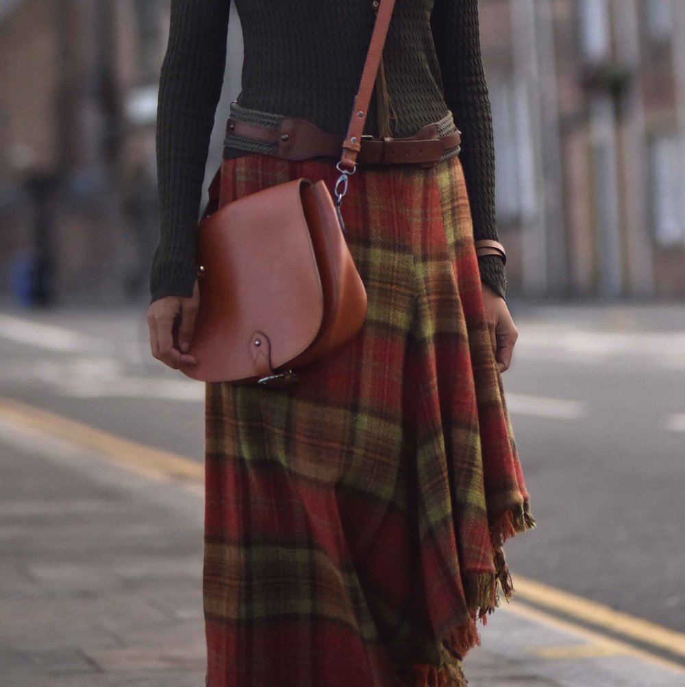 Ralph Lauren Blue Label plaid uneven hem skirt, tan Clarks bag, street style, Inverness, Scotland. Image©thingstodot.com