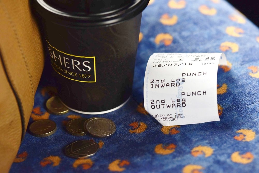 Takeaway coffee in bus, Inverness to Lochness, Scotland. Image©hingstodot.com