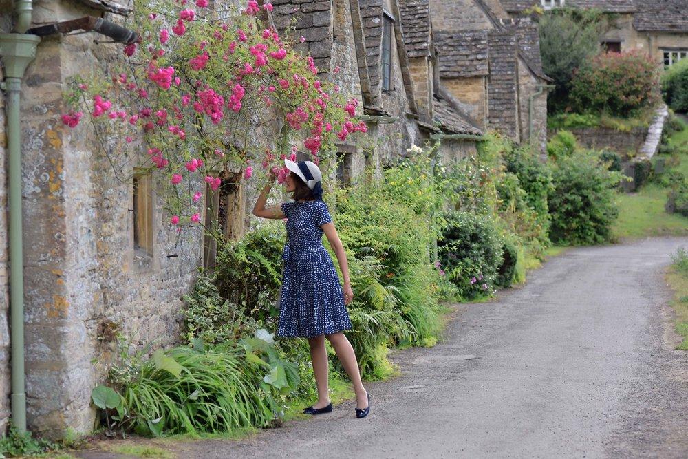 Prada dress, Prada ballet flats, Bibury, Cotswold, England. Image©thingstodot.com