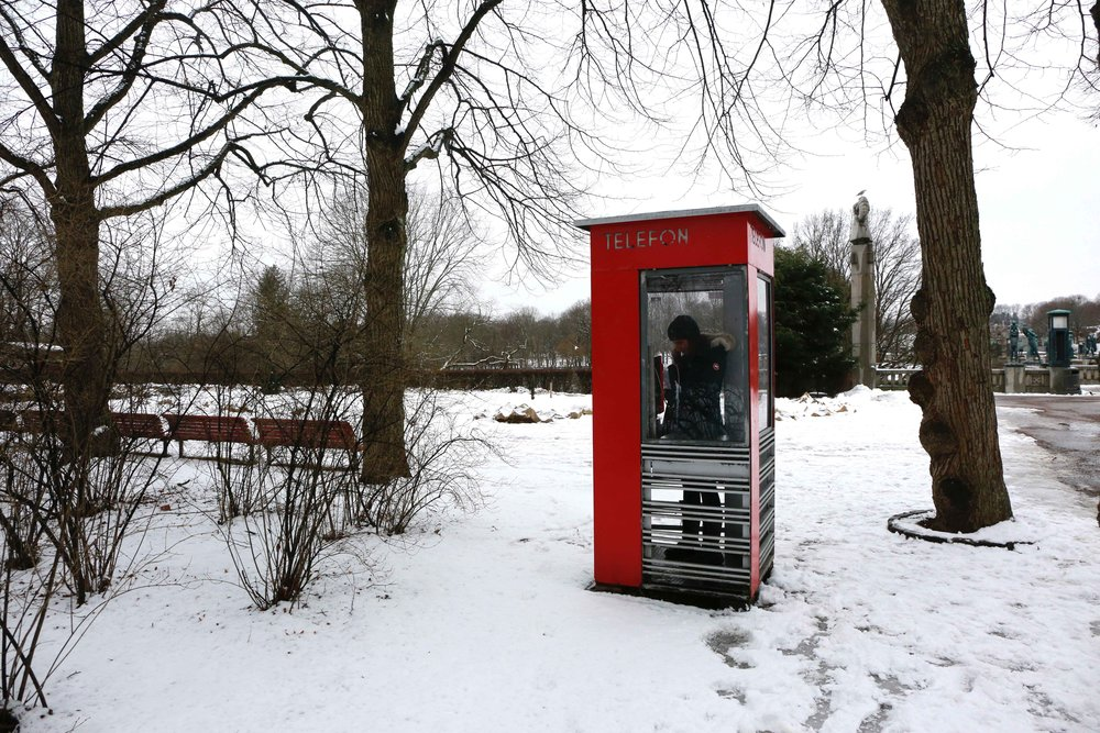 ed Telephone Booth, telefonkiosk, Vigeland Sculptor Park, Oslo, Norway. Photo: Oslo Photo Tour Image©thingstodot.com
