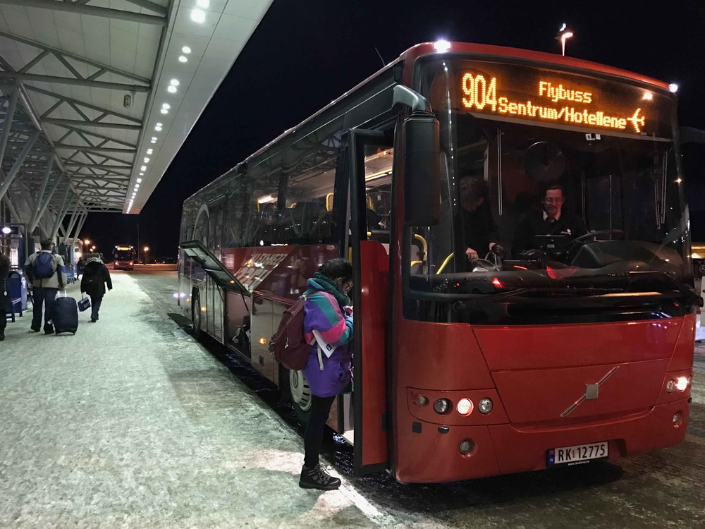 Tromso Airport Shuttle, Flybuss, Tromso airport, Langnes, Norway. Image©thingstodot.com
