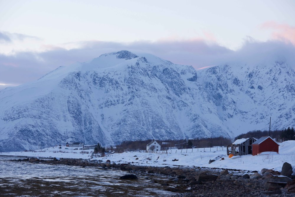 Arctic scenery, Lyngen Alps, Norwegian fjords, Lyngen Lodge, Arctic Circle, Norway. Image©thingstodot.com