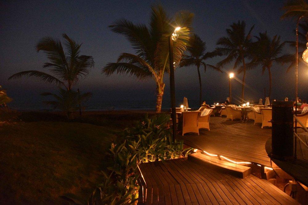 Beach-side restaurant,Palms,Park Hyatt, beach resort, Goa, India. Image©thingstodot.com