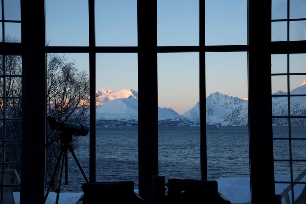 Sunrise on Lyngen fjords, Lyngen Lodge, Arctic Circle, Norway. Image©thingstodot.com