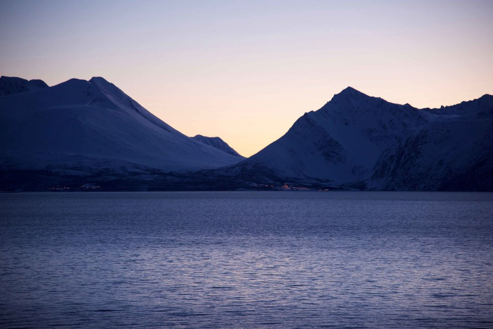 Sunset, Lyngen fjords, Arctic Circle, Norway, Lyngen Lodge. Image©thingstodot.com