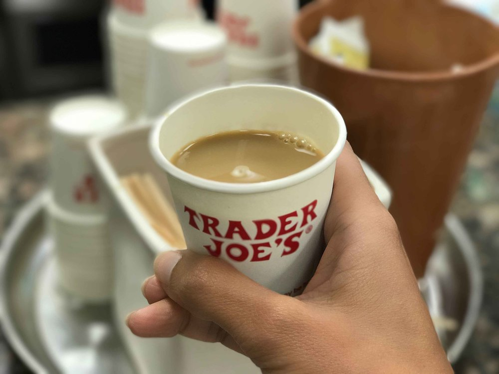 Trader Joe's grocery store, sampling coffee, Los Angeles. Image©thingstodot.com
