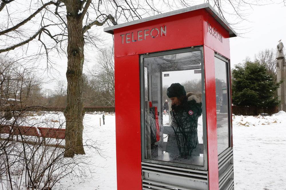 Red Telephone Booth, telefonkiosk, Vigeland Sculptor Park, Oslo, Norway. Photo: Oslo Photo Tour Image©thingstodot.com