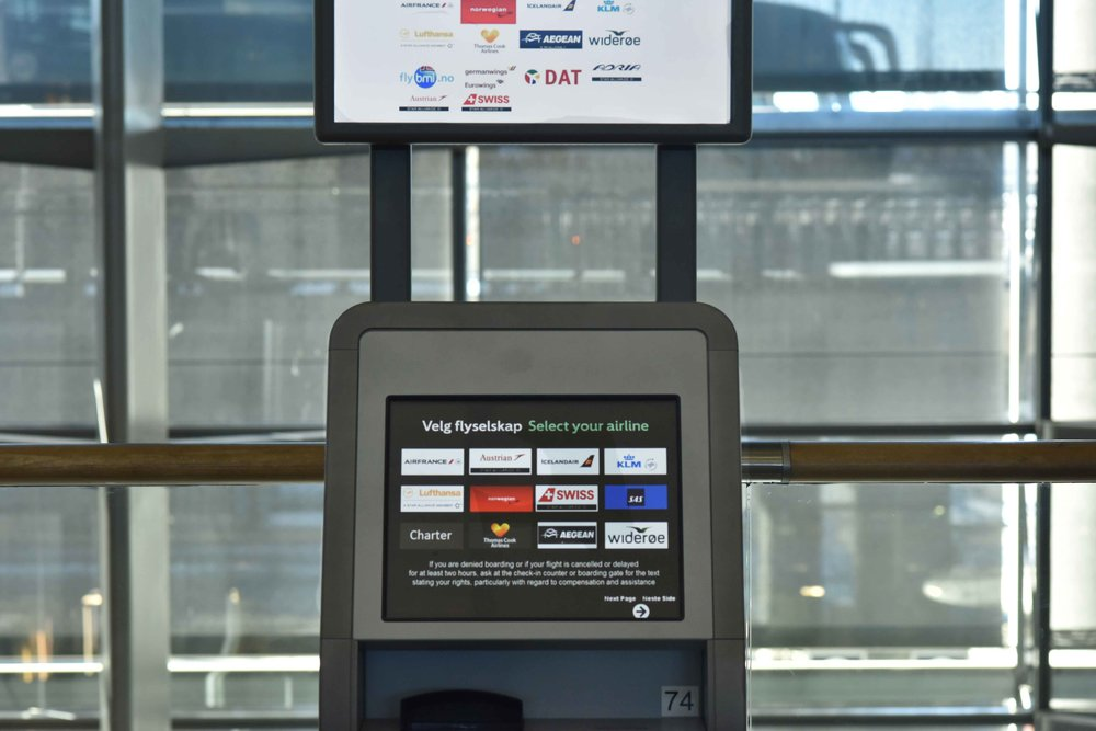 Self check in, Oslo Gardermoen Airport, Oslo, Norway. Image©thingstodot.com