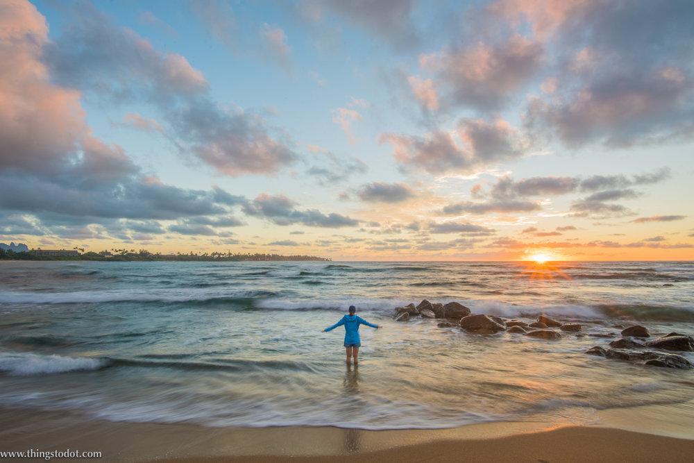 Sunrise, Lydgate beach, Kapaa, Kauai, Hawaii. Image©thingstodot.com