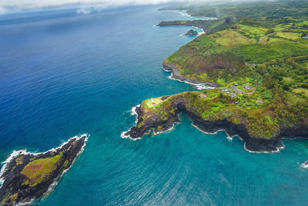 Kilauea Lighthouse,Kauai, Hawaii, aerial view, Jack Harter Doors Off Helicopter Tour.Image©www.thingstodot.com