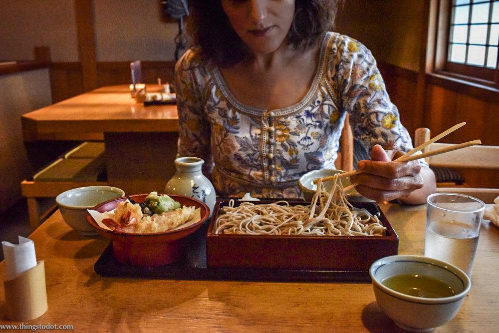 Tenseiro,tempura with cold soba noodles,Honke Owariya, soba restaurant, Kyoto, Japan. Image©www.thingstodot.com