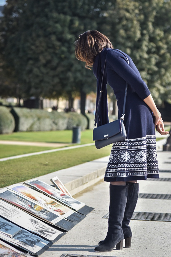 Ralph Lauren dress, Marks & Spencer boots, Kate Spade sling bag, Jardin des Tuileries, Paris. Photo: Nina Shaw. Image©www.thingstodot.com
