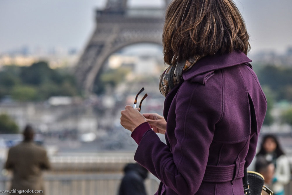 Karen Millen fall/winter coat, Eiffel Tower, Paris, France. Photo: Nina Shaw. Image©www.thingstodot.com.