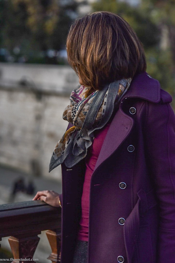 Karen Millen fall/winter coat, Notre Dame, Paris, France. Photo: Nina Shaw. Image©www.thingstodot.com.