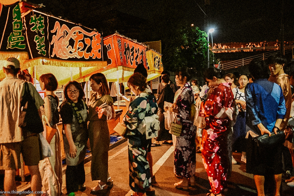 Food stall at Adachi Fireworks on Arakawa river, Tokyo, Japan. Image©www.thingstodot.com.