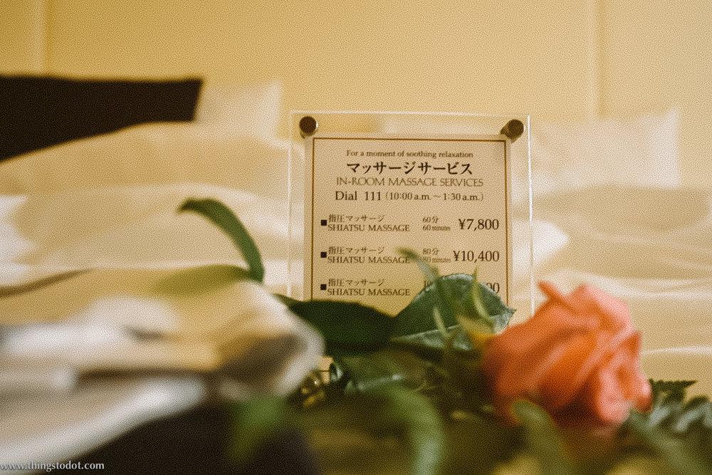 Shiatsu Massage,Imperial Hotel, Tokyo, Japan. Image©www.thingstodot.com