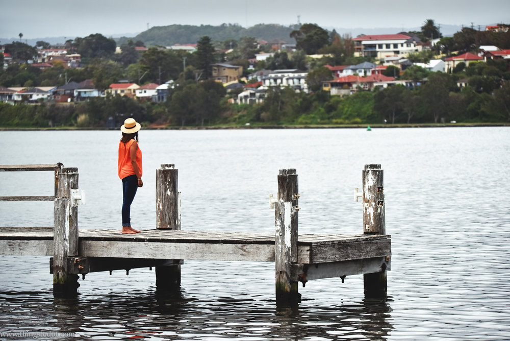 Lake Illawara, Primbee Jetty, NSW, Australia. Photo: Brad Chilby (http://chilby.com.au). Image©www.thingstodot.com. Clothes: https://www.cream-clothing.com.