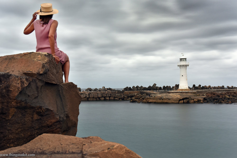 Wollongong Harbour Old Lighthouse, NSW, Australia. Photo: Brad Chilby (http://chilby.com.au). Image©www.thingstodot.com. Clothes: https://www.cream-clothing.com.