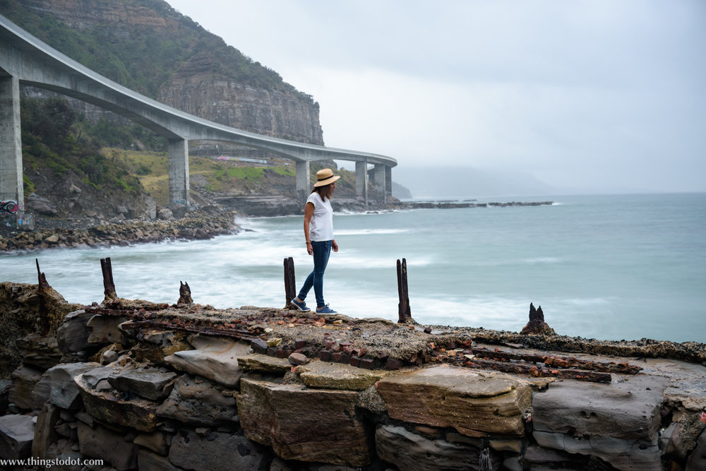 Sea Cliff Bridge, Coalcliff, New South Wales, Australia. Photo: Brad Chilby (http://chilby.com.au). Image©www.thingstodot.com. Clothing: https://www.cream-clothing.com.
