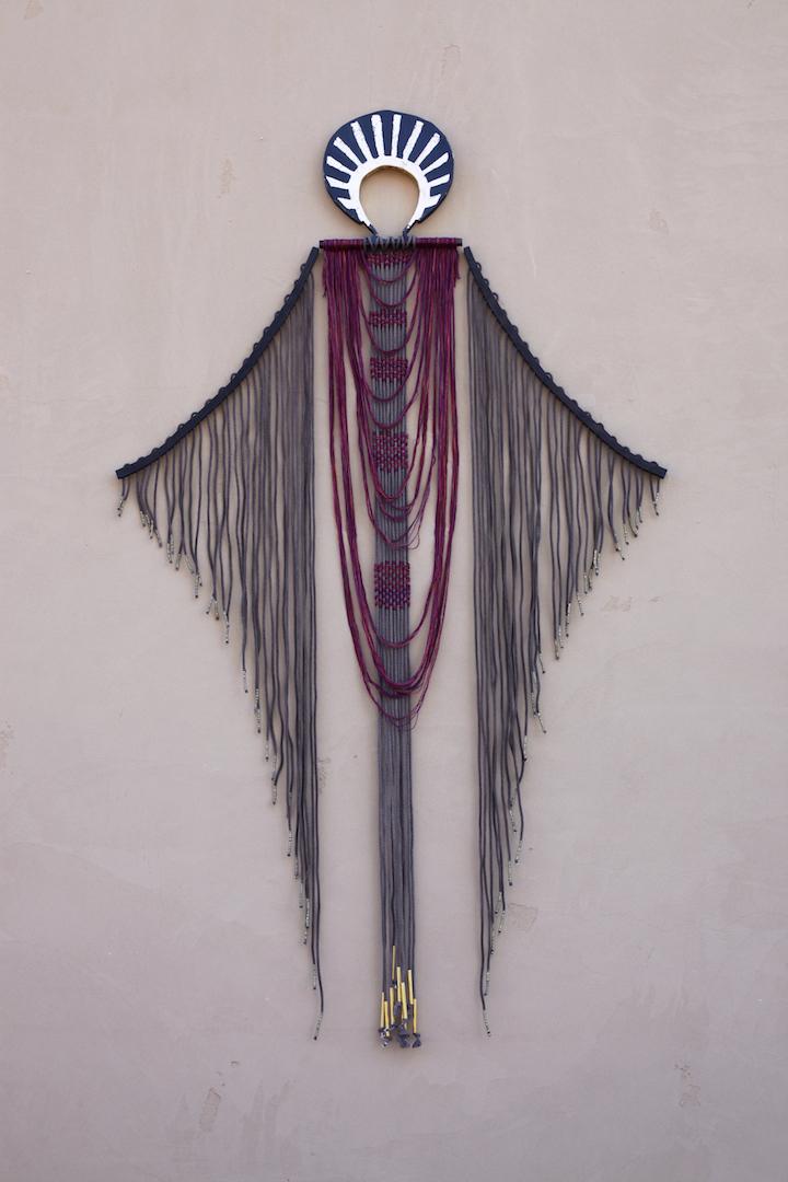 "Charred Oak, Hand-dyed cotton rope, Merino Wool, Brass    47.5"" x 84"""
