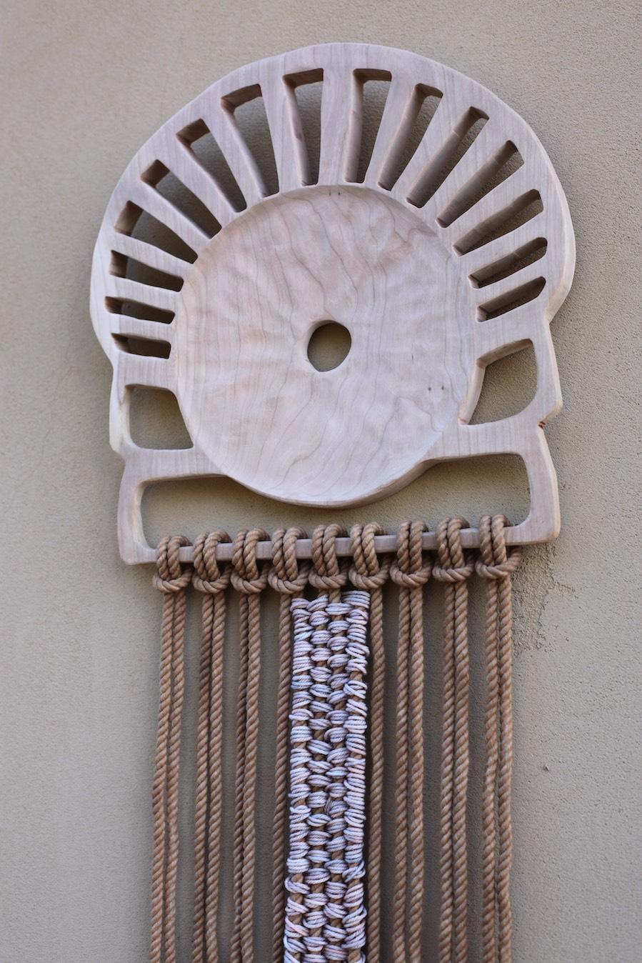 "Ash, Hand-dyed cotton rope, Merino Wool    13"" x 96"""