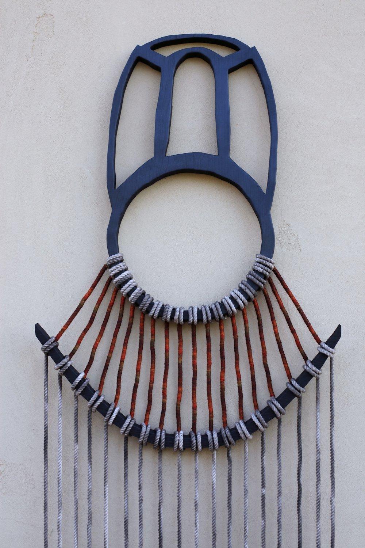 """Charred Walnut, Hand-dyed cotton rope, Merino Wool    25"""" x 100"""""""