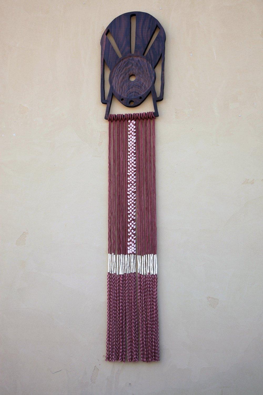 """Walnut, Hand-dyed cotton rope, Merino Wool    17"""" x 84"""""""