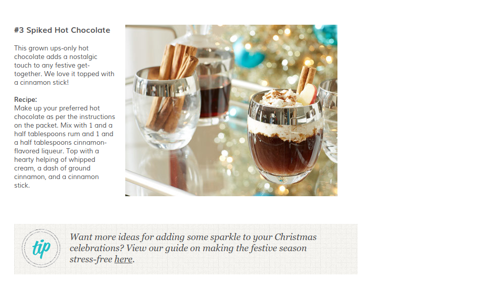 Christmas hot chocolate recipe from the Wayfair.co.uk blog