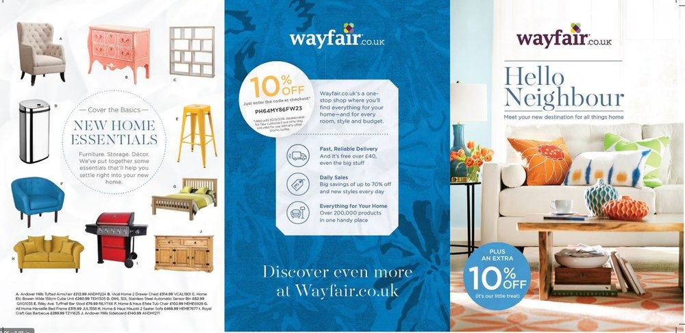 Wayfair UK Hello Neighbour printed leaflet