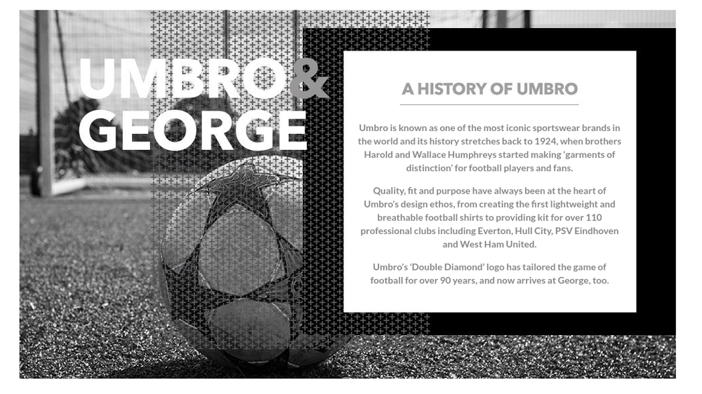 George ASDA Umbro spring summer 2016 collection about us page