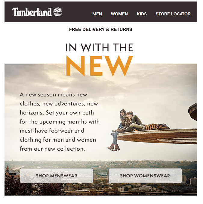 Timberland in with the new newsletter